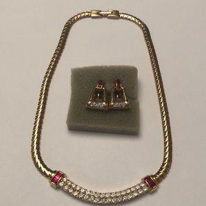 Vintage Puccini gold tone choker  & earring set